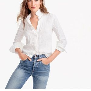 J crew Slim button down blouse Irish linen